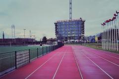 Atletiekbaan bij Arsenal in Amsterdam