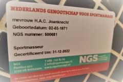 Mijn licentie NGS sportmassage