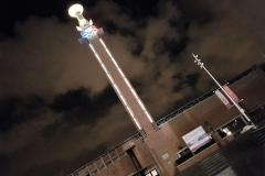 Logo Olympisch stadion bij nacht