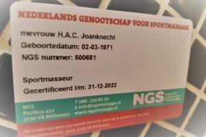 Mijn NGS-licentie als sportmasseur