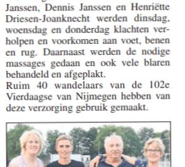 Artikel in De Rozet over de sportmassage die ik gaf tijdens de Nijmeegse Vierdaagse.