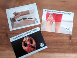 Cadeaubonnen hotstonemassage, sportmassage, medical taping